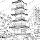 Chinese temple - China & Asia Coloring Pages for Adults - Just Color