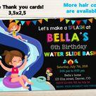 Waterslide birthday invitation Water slide invitation Pool   Etsy