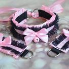 Made to Order  Kitten Play Collar and Cuffs  Pink Oleander    Etsy
