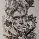 Lines and Swirls Pencil and Charcoal Portraits