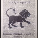 Leo star sign birthday friends Original Dictionary Print Book Page Wall Art Picture Gift