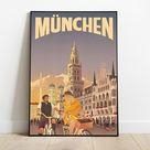 munchen print, munchen travel poster, munchen poster, munchen painting, munchen travel, travel poster, wall decor