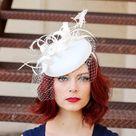 Light ivory Fascinator on headband with Veil Women's Tea | Etsy