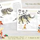 Archeology Printable Coloring Page, Printable Activity Placemat, Kids Activity Sheet, Instant Download Coloring Page A3 size Coloring Sheets