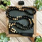 108 Imperial Mala Tassel Necklace for a Him or Her! - Tiger Eye + Agate / Dark Green