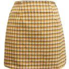 Zendaya Houndstooth Mini Skirt - M / Yellow