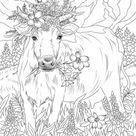 Cow in Flowers  Printable Adult Coloring Page from Favoreads | Etsy
