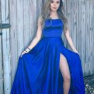 Sexy Royal Blue Prom Dress with Slit, Evening Dress ,Winter Formal Dress, Pageant Dance Dresses, Graduation School Party Gown, PC0305 - 16W / Royal Blue