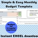 Monthly Budget Template - EXCEL- Instant digital download - Personal Finance and Easy Household Budgeting - Spending and Saving Calculator