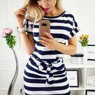 BestDealFriday Navy Stripes Pocketed T Shirt Dress With Belt P1482088 Blue-(US 8-10)M