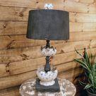 Rustic Metal Petal Table Lamp