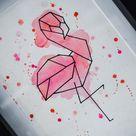 Watercolour Geometric Flamingo Unframed Painting  Original | Etsy