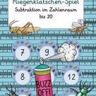 Fliegenklatschen-Spiel / Subtraktion im Zahlenraum bis 20 (mit und ohne Zehnerübergang) – Unterrichtsmaterial im Fach Mathematik