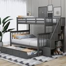 Merax Twin over Full Bunk Bed with Twin Trundle, Storage Shelves, Full-Length Guardrail and Stairs (Grey), Gray