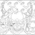 Halloween skull - Halloween Coloring Pages for Adults - Just Color