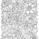 Coloring Poster: Flowers & Leafs Design Coloring Art, 48x36in.