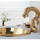 Tap High-End Luxury Series of Pure Hand-Made Brass Dragon Shape Bathroom Sink Faucet - Gold
