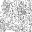 Fantasy City  Printable Adult Coloring Page from Favoreads | Etsy