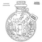 Vector Coloring book for adults. A glass vessel with memories of...