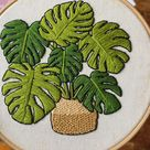 Embroidery kits for beginners plant design