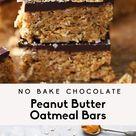 Vegan No Bake Chocolate Peanut Butter Oatmeal Bars