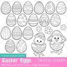 Easter Eggs - Digital Stamps
