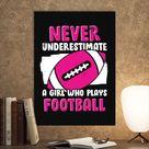Metal Poster American Football Girl