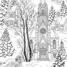 Church  Printable Adult Coloring Page from Favoreads | Etsy