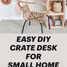 EASY DIY CRATE DESK FOR SMALL HOME OFFICE
