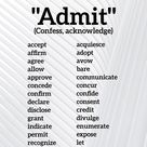 More synonyms for admit (confess)