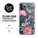 Flowers case Peony Pattern Gift for her Transparent Clear Ruber with hragmental design print for iPhone SAMSUNG & HUAWEI phone cover X24