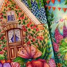 how to color a summer scene with lots of flowers!