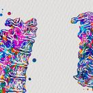 Watercolor Anatomy Art Human Skeleton Medical Print Skull Pelvis Spine Rib Cage Hand Foot Bones Doctor Office Decor Surgeon Gift