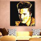 "Elvis Presley pop art portrait drawing, instant download, set of 3, black golden, 26x26"" printable wall art, realism, gift, home decor, art"