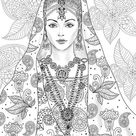Indian Girl  Printable Adult Coloring Page from Favoreads | Etsy