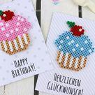 DIY Geburtstagkarten aus Bügelperlen selber machen - Geschenkidee