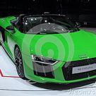 Switzerland; Geneva; March 8, 2018; Audi R8 Spyder V10 Plus; The Editorial Photo   Image of headlights, automobile 118344561