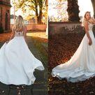 Wedding dress flowy Illusion wedding dress Satin wedding dress Bridal gown Illusion sleeves wedding dress Empire wedding dress / Blanka