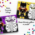 Batty Girl Super Hero Birthday Printable Invitation - Yellow / Brunette / RUSH WITHIN 24 BUSINESS HOURS