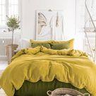 Moss yellow linen duvet cover
