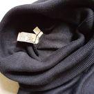 Patra silk and wool steel charcoal grey fine knit ladies roll neck pullover jumper pullover Large XL UK16 UK18 vintage unworn