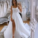 Gorgeous Ball Gown Square Neck Split Wedding Dresses with Appliques,SF0306
