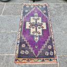 Vintage Turkish Rug, Hand Woven Small Purple Turkish Rug for Boho Bathroom Decor, Small Entry Rug, Turkish Door Mat, 1.5x3.3 Ft