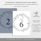 Table Number Template, TRY BEFORE You BUY, Editable Instant Download, Botanical Floral