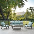 Martha Stewart Freehill 4-Piece Metal Frame Patio Conversation Set with Polyester Cushions   15PKC-FM1A04-BL2