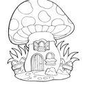 Ausmalbild  Pilz Haus kostenlos ausdrucken
