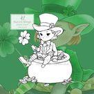 PNG Digital Stamp  Whimsical Little Leprechaun with Shamrock   Etsy