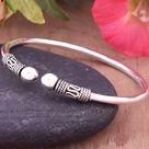 925 Solid Sterling Silver Bangle - Beautiful Handmade Cuff Bracelet - Oxidize Silver Bangle - Adjustable Bangle - Flexible Wrist Bangle