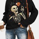 Langarm-Sweatshirt mit O-Ausschnitt und langem Ärmel und Totenkopf für Damen