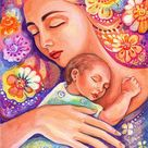 Mother and child, mother and son, nursery art, newborn baby, mother and baby, maternity, home decor wall decor woman art, ACEO woodblock, CH